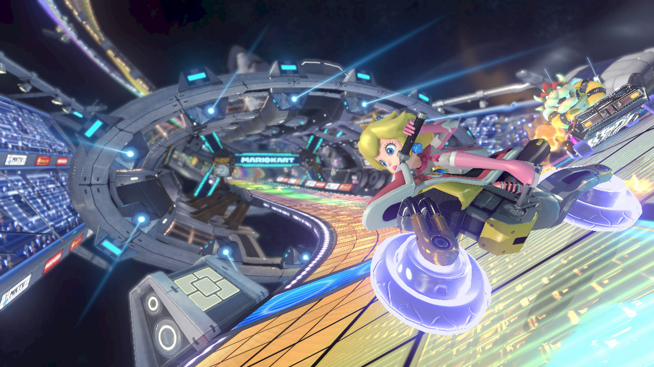The new rainbow road seems to be some sort of space station.